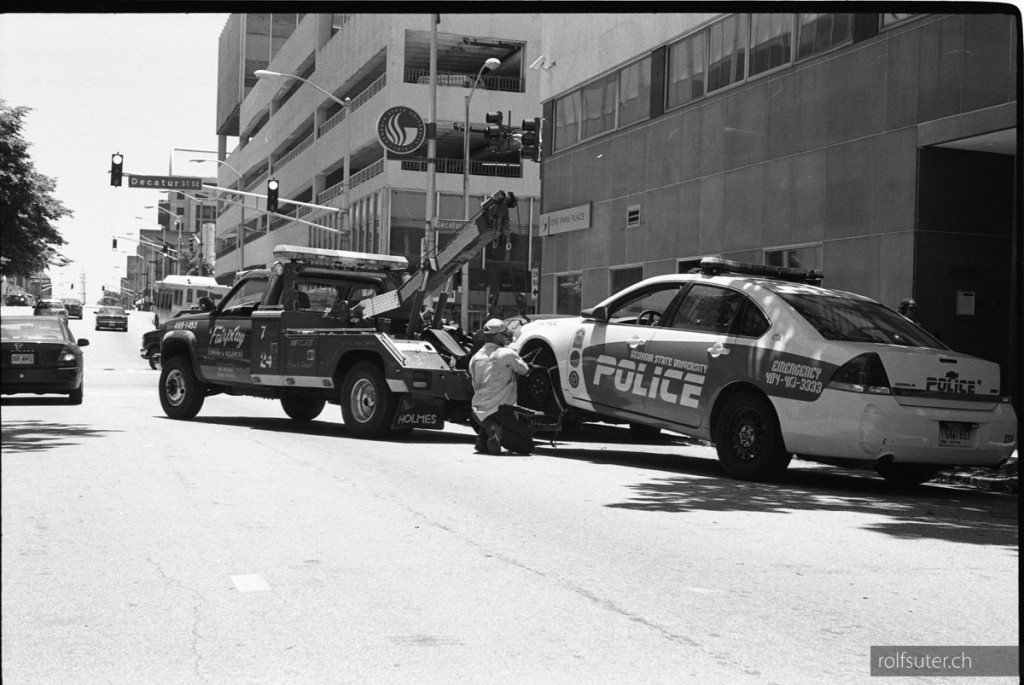 Towing a police car