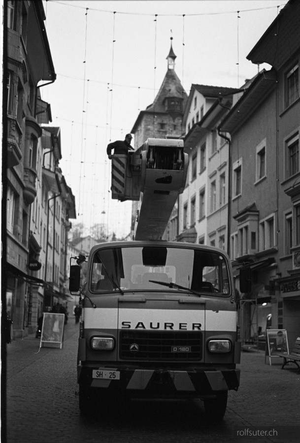 Mounting christmas lighting, Schaffhausen