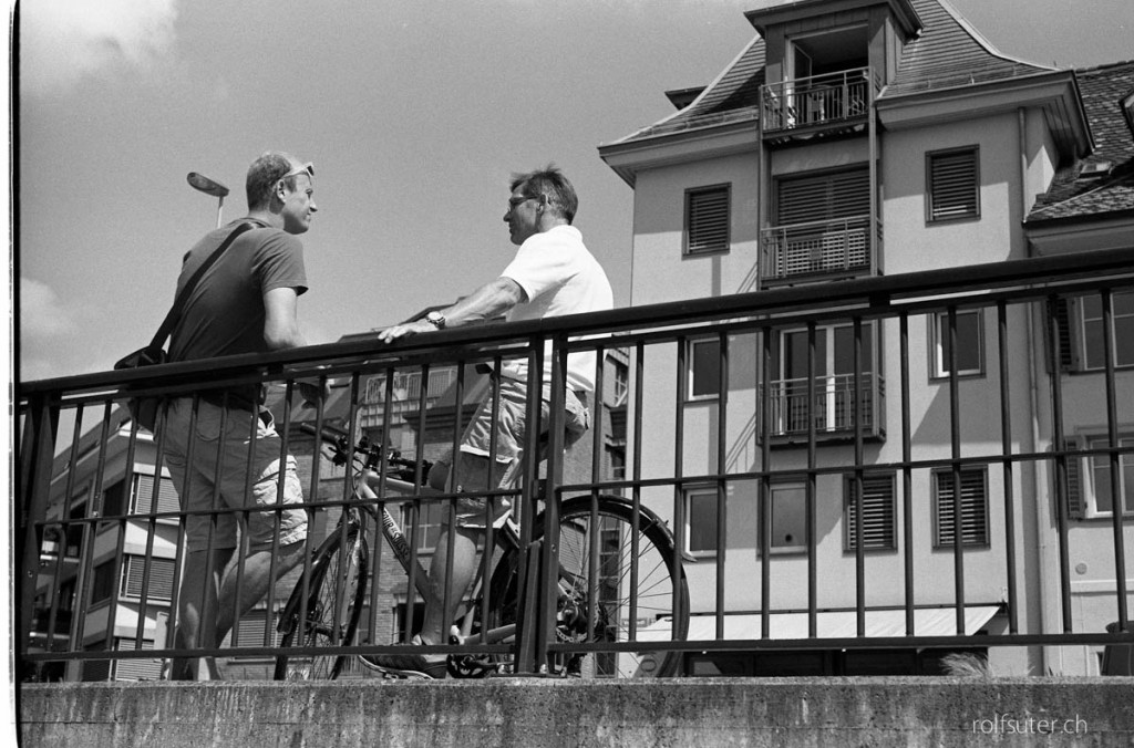 Two men and their bicyles in Zug