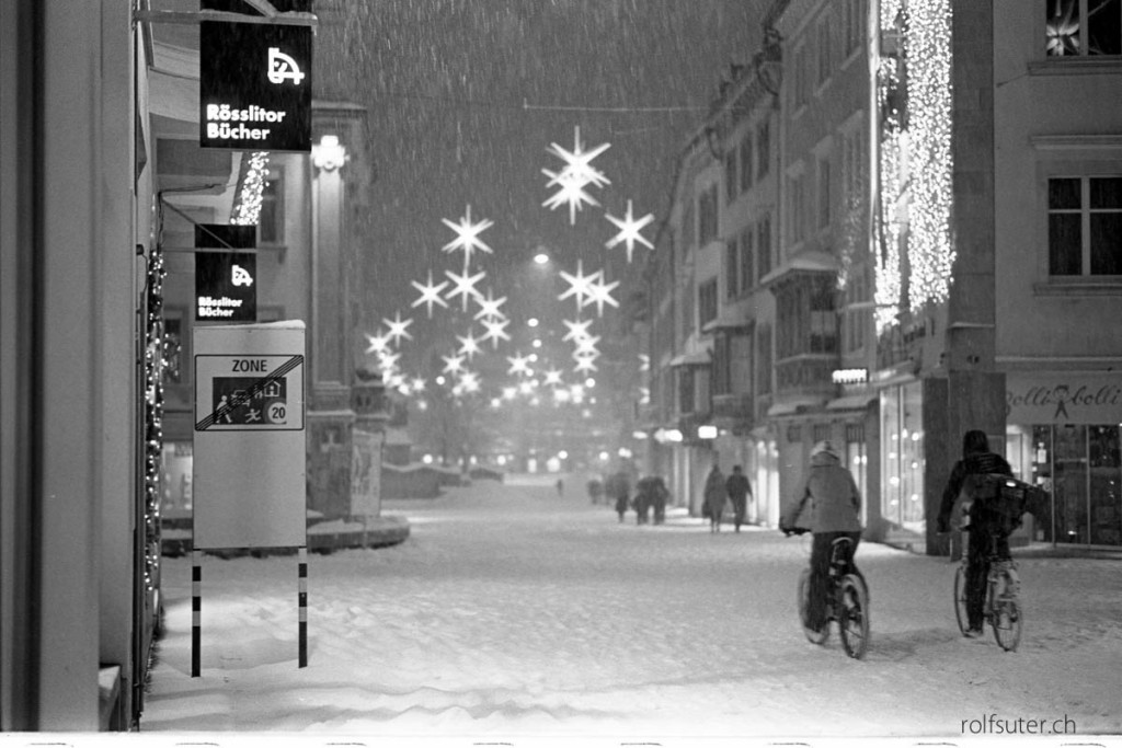 Cycling through the snow by night | St. Gallen