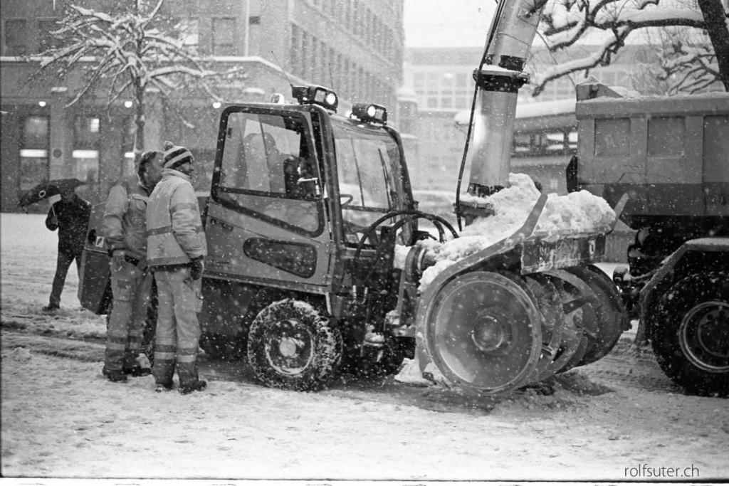 Snow blower in St. Gallen