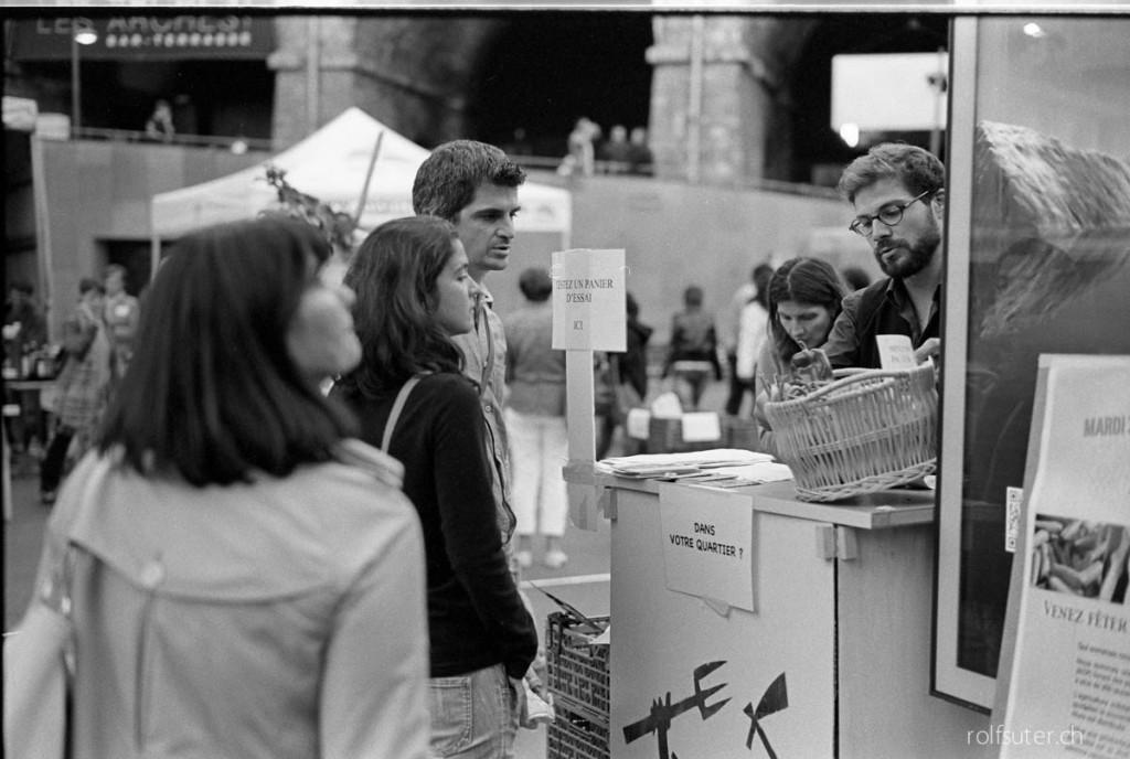 Market in Lausanne Flon