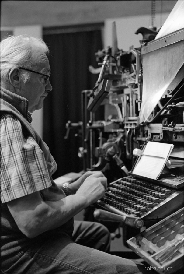 Typing a text for an old printing machine, OFFA, St. Gallen