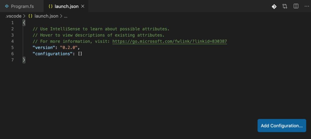 VS Code generates 'launch.json' in the '.vscode' folder