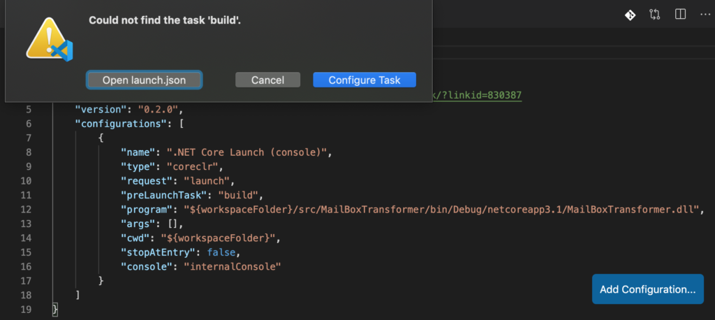 VS Code does not find the 'preLaunchTask' called 'build' and suggests to configure the task.