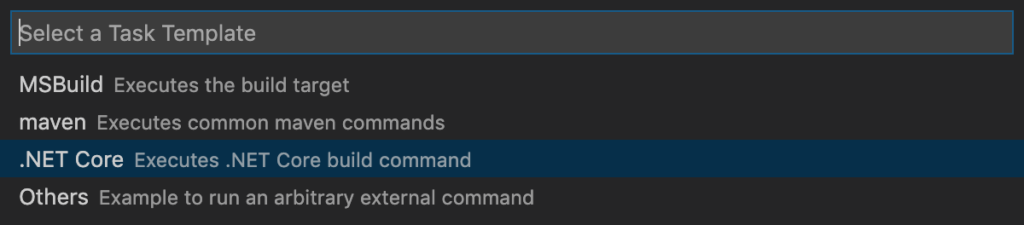 Select Task Template '.NET Core Executes .NET Core build command'