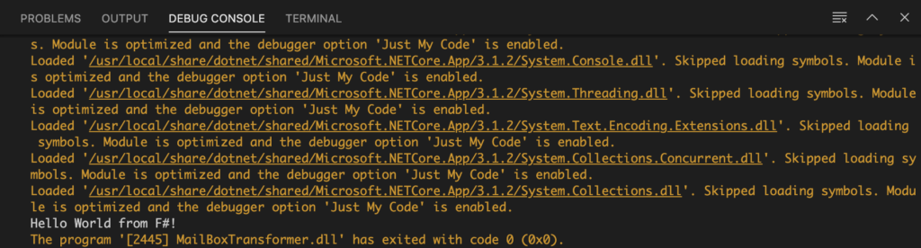 Console output of the app